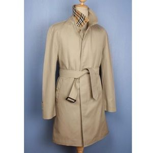 Burberry Size 52 XL tan trench coat.